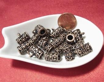 On Sale 4 pcs, Bails, Antique Copper European Spacer bead, 12x13x6mm hole, Multi packs, C356