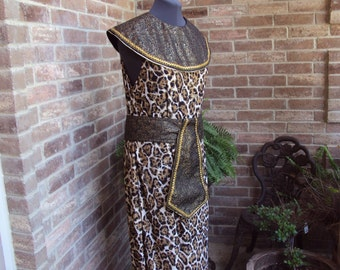 Queen or King of the Nile, Cleopatra style dress, collar and belt, leopard dress, Halloween costume OOAK only one