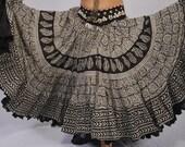 Gorgeous Black White  Block Print Organic Vegetable dyes  used Pure cotton 25 Yard Skirt