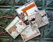 Handmade Farm Animal Tags, Set of 4, Made with Vintage Ephemera