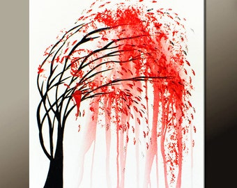 Abstract Canvas Art Painting 18x24 Red Original Contemporary Landscape Tree Paintings  by Destiny Womack - dWo - Weeping Tree III