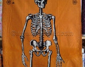 "CHILLINGSWORTH Orange Skeleton PANEL - Cotton Quilt Fabric by the 24"" x 45"" Panel - Echo Park Andover Fabrics Halloween Skulls Mr. Bones"