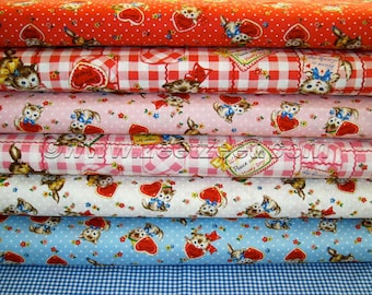 "Rare 6 FQ Set - Vintage VALENTINE KITTEN Kitty Japanese Cotton Quilt Fabric Fat Quarter Fq Gate Pocket Cat Cats 18"" x 22"" each - 6 Designs"