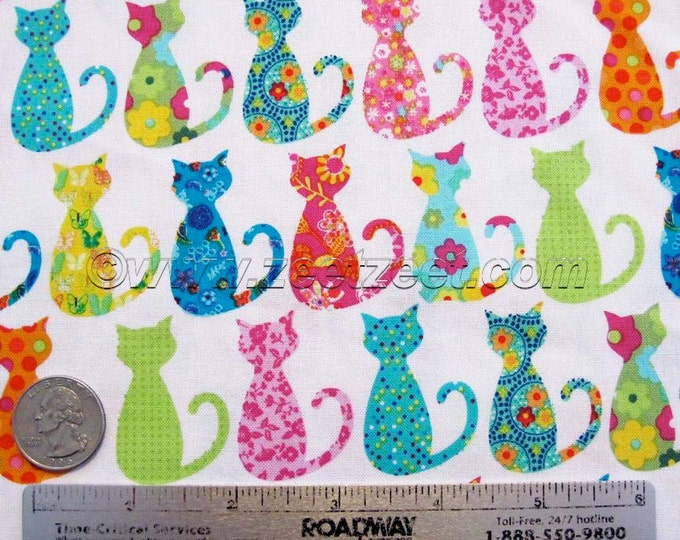 "Michael Miller CALICO CAT White Cotton Quilt Fabric - Precut Remnants - 26""L x 45""W, Quarter Yard, Fat Quarter Fq Cats Kitties CX-4911"