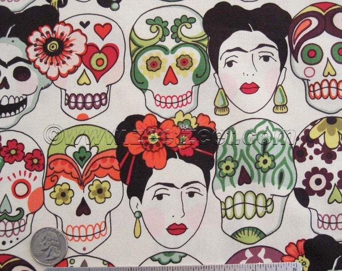 "GOTAS DE AMOR Tea Green Orange Alexander Henry Fabric by the Yard, Half Yard, or Fat Quarter Fq Skeleton ""Day of the Dead"" Sugar Skull Frida"