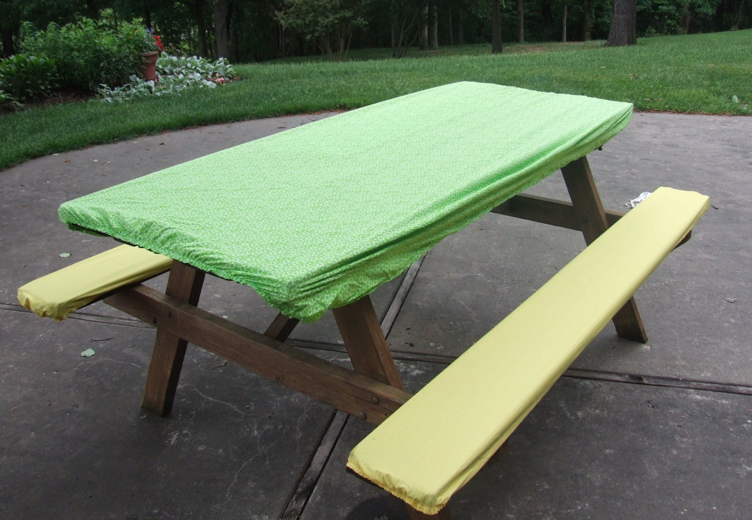 Picnic Table And Seat Cover Set With Elastic Ends Green And