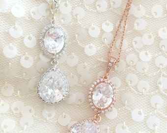 Regal Bridal Rhinestone pendant necklace / Cubic Zirconia Wedding earrings- oval