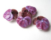Purple Pansy Beads, Lampwork Bead Pairs, handmade floral supplies for jewelry or embellishment, viola bead, glass flower
