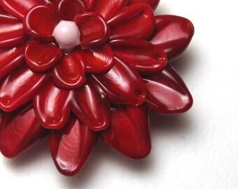 RED DAHLIA Glass Flower Bead Focal artisan lampwork bead sra supplies