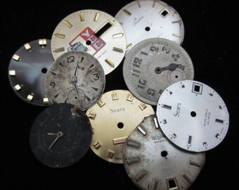 Vintage Antique Watch Dials Steampunk  Faces Parts Altered Art Industrial  L 33