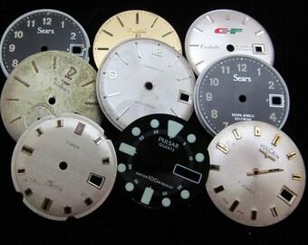 Vintage Antique Watch Dials Steampunk  Faces Parts Altered Art Industrial  L 37