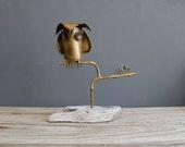 Modern Perched Metal Owl Sculpture on Driftwood