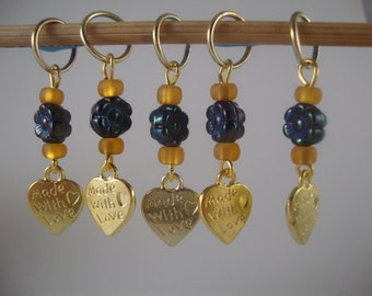Made With Love Knitting Stitch Markers Hearts Flowers Gold tone Set of 5/SM80B