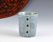 Small Blue cup for tea or wine with Buttons by Charan Sachar - Ready to Ship