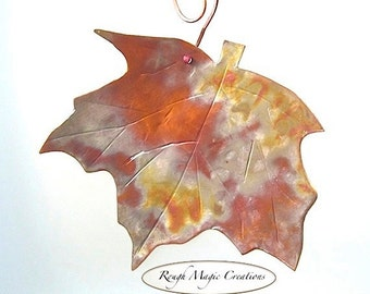 Maple Leaf, Rustic Copper Wall Hanging, Eco Friendly Primitive Metalwork, Autumn Home Decor