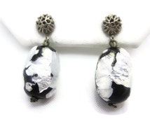 Foil Glass Earrings - Black & White Dangles, Screw Back Earrings, Costume Jewelry, Beads, 1960s