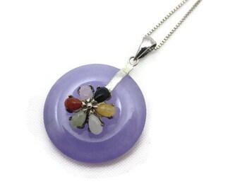 Jade Jewelry - Purple Jade Necklace Pendant, Sterling Silver, Box Chain