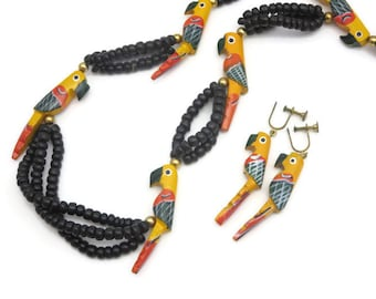 Tropical Wood Parrot Necklace and Earring Jewelry Set