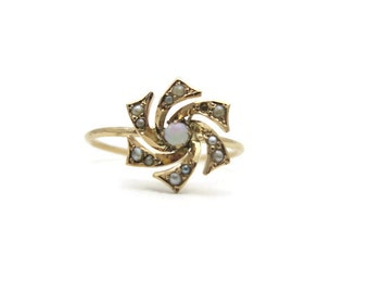 Opal Ring - Seed Pearl Flower Ring, 14k Gold, Victorian Jewelry, Rose Gold Pinwheel, Stick Pin Conversion, 1900s Fine Estate Jewelry