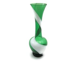Art Glass Vase - Green White Stripe, Milk Glass Swirl, Kamei / Nasco,  Japanese, Mid Century, Bud Vase