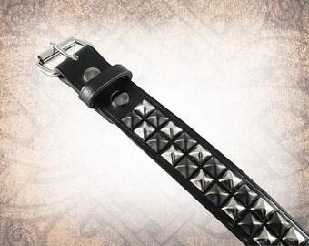 Pyramid Stud Belt - Black & Steel - Studded Leather Belt, Studded Belt, Leather Belt, Mens Leather Belt, Women's Leather Belt, Belt