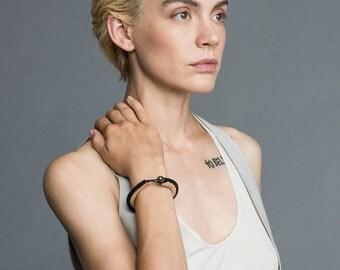 Skinny Handmade Bracelet for Women, Delicate Beige Black Leather Bracelet, Boho Style Buttoned bracelet, Black Nude Genuine Leather Bracelet