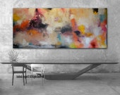 SALE Pink Black Abstract, 30x72 Pink painting, Abstract Wall Art, Pink blue Art, Orange Blue, Large Abstract Picture, Pink large painting