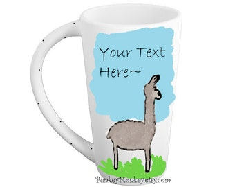 Custom llama mug pottery mug personalized or not llamas alpaca kiln fired mug tall mug made to order