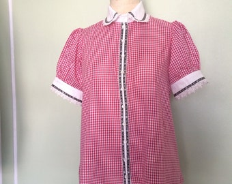 Gingham alpine style blouse
