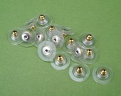 12mm x 6mm Gold Plated Clear Plastic Ear Nuts (4 pieces)