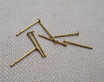 100 Tiny Brass 1.5mm Flat Pad Earring Posts Only