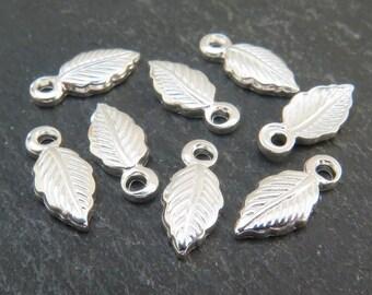 Sterling Silver Leaf Charm 10.5mm (CG5604)