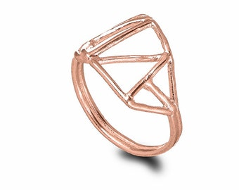 Geometric Rose Gold Ring , Architectural Ring , Asymmetrical Ring , 14K Rose Gold Ring , Geometric Jewelry , Triangle Ring , Minimalist Ring