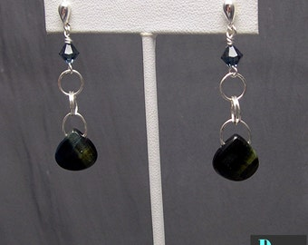 Blue Tigereye Dangle Earrings