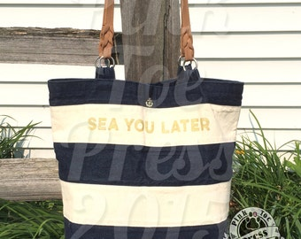 SEA YOU LATER Nautical Purse // Jean Paul // Navy and Cream // Tote Bag // Travel Bag // Diaper Bag // handbag