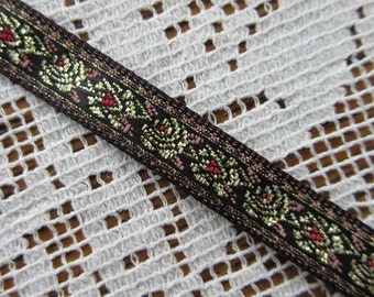 3 Yards Metsllic  Rose Woven Jacquard Ribbon Black Gold And Red Trim 3/8 Inch Wide