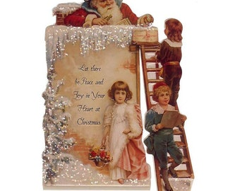 Vintage Standing Christmas Card Made In USA 1990s Santa Claus In Chimney  CD 146