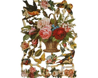 Germany Paper Scraps Die Cut Lithograph Birds And Flowers  7157