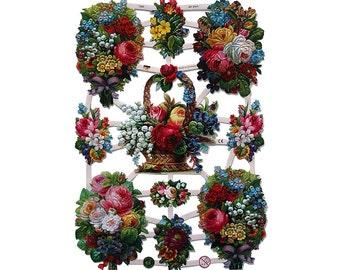 German Paper Scraps Victorian Die Cut Flower Bouquets  7345
