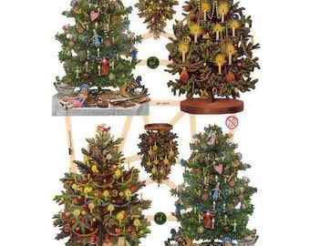Germany Paper Scraps Lithographed Die Cut Victorian Christmas Trees  7390
