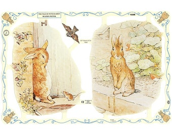 Vintage England Beatrix Potter Die Cut Paper Scraps Peter Rabbit Out Of Print  1836