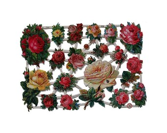 Germany Paper Scraps Lithographed Victorian Roses  7344
