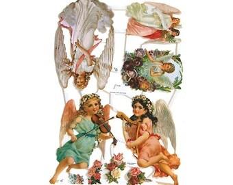 Germany Paper Scraps Die Cut Victorian Angels   7135