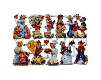 Germany Paper Scraps Lithographed Die Cut Vintage Seasonal Children  7036
