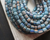 small matte striped seed beads, opaque blue glass beads, spacer beads, barrel tube, Modern Indo-pacific  3 to 6mm / 10 in strd,5A5-1