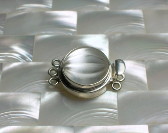 Round Box Clasp Frosted Crystal Sterling Silver Triple strand Jewelry Ending Closure Jewelry Supplies, Jewellery Supplies