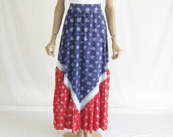 Vintage 70's Lanz Cotton Crocheted Boho Maxi Skirt. Size X Small