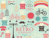 Retro clipart - vintage clip art typewriter bicycle bikes lamps skeleton key bird cage birdcage antique elements personal commercial use