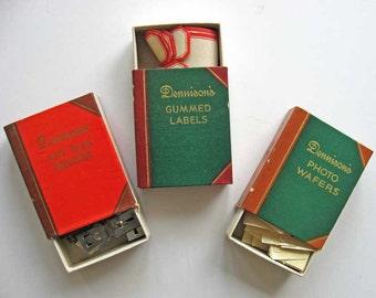 3 Vintage 1950's Dennison Co Office Supply Matchbook Boxes for Vintage Office Desk, Gummed Labels, Photo Wafers, Clips