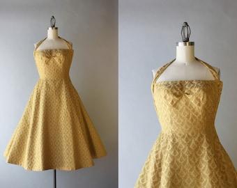 1950s Halter Dress / Vintage 50s Golden Damask Party Dress / 50s Gold Formal Gown